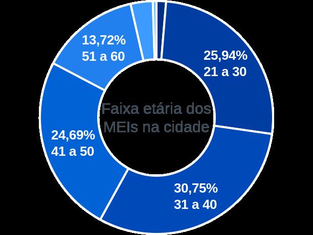 Faixa etária de MEIs na cidade de Águas Lindas de Goiás