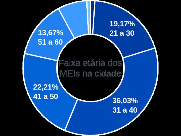 Faixa etária de MEIs na cidade de Alto Paraíso de Goiás