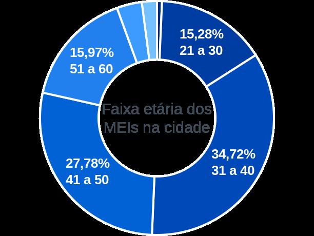 Faixa etária de MEIs na cidade de Divinópolis de Goiás