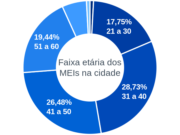 Faixa etária de MEIs na cidade de Bonfinópolis de Minas