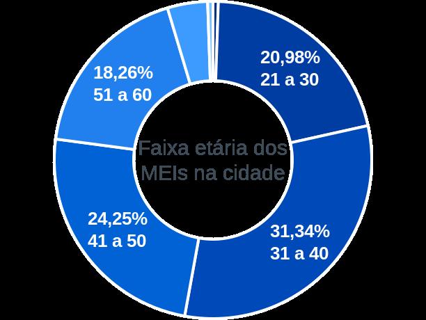 Faixa etária de MEIs na cidade de Cachoeira de Pajeú
