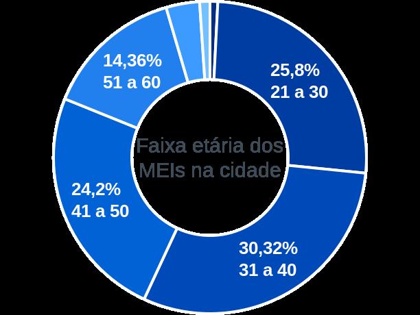Faixa etária de MEIs na cidade de Divinolândia de Minas
