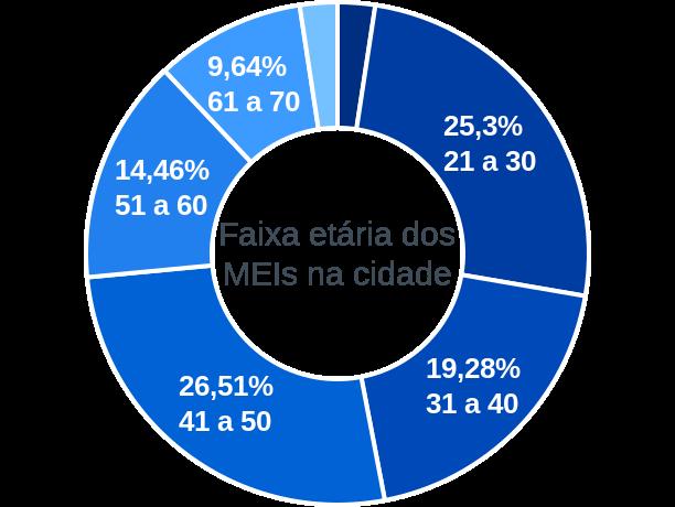 Faixa etária de MEIs na cidade de Douradoquara