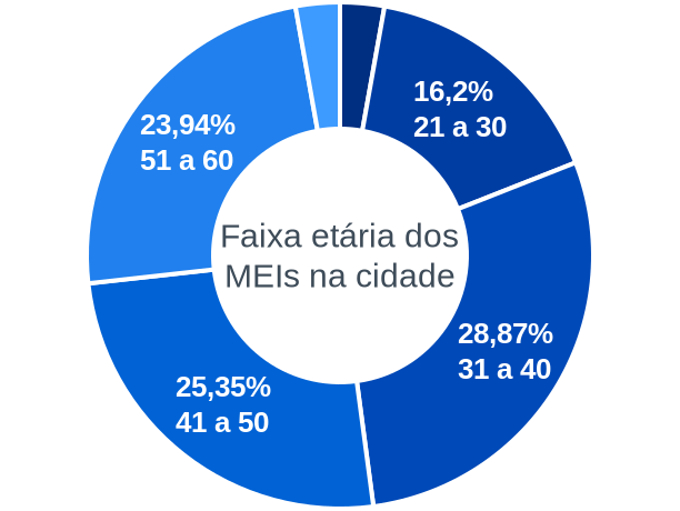 Faixa etária de MEIs na cidade de Joaquim Felício