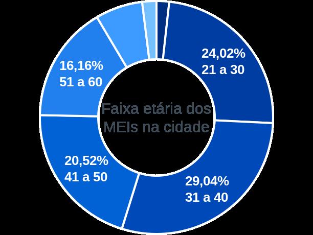 Faixa etária de MEIs na cidade de Morada Nova de Minas