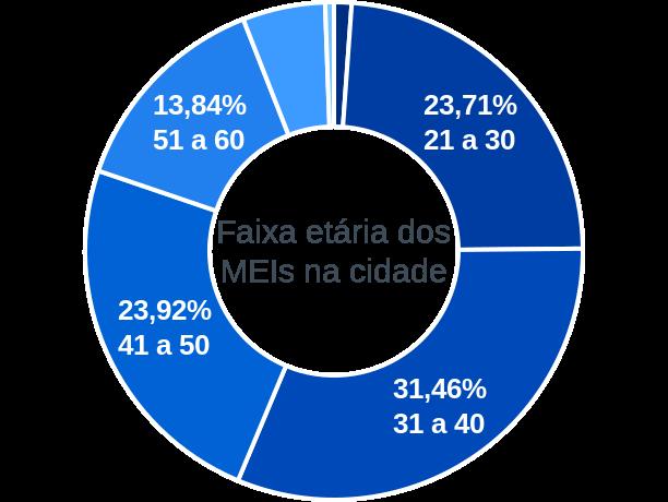 Faixa etária de MEIs na cidade de São Joaquim de Bicas