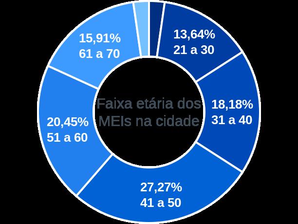 Faixa etária de MEIs na cidade de São Sebastião do Rio Preto