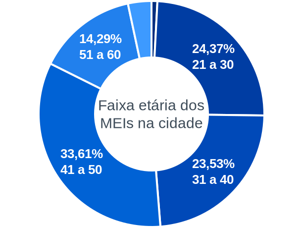 Faixa etária de MEIs na cidade de São Sebastião do Rio Verde