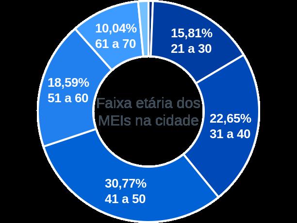 Faixa etária de MEIs na cidade de São Vicente de Minas