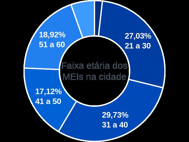 Faixa etária de MEIs na cidade de Vargem Grande do Rio Pardo