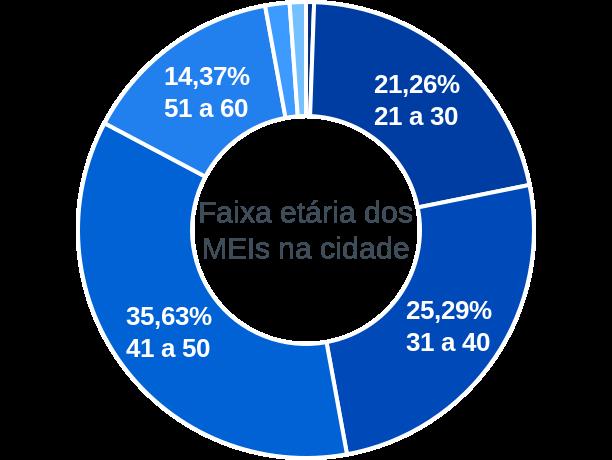 Faixa etária de MEIs na cidade de Porto Estrela