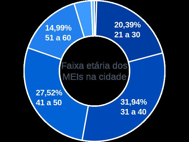 Faixa etária de MEIs na cidade de Ribeirão Cascalheira