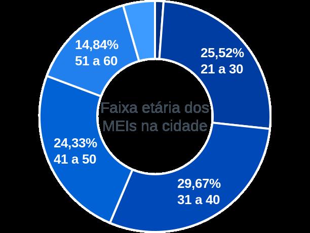 Faixa etária de MEIs na cidade de Araçoiaba