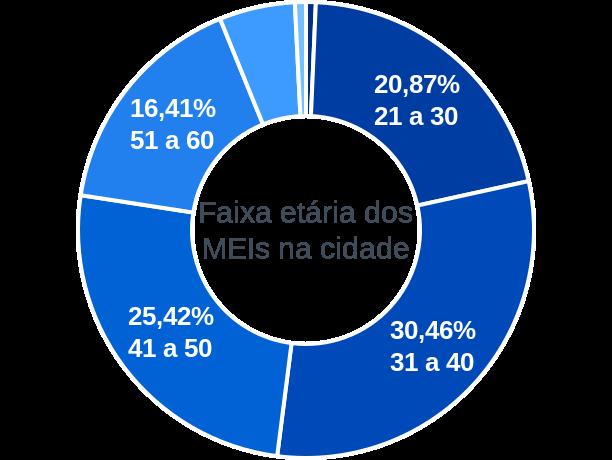 Faixa etária de MEIs na cidade de Jaboatão dos Guararapes
