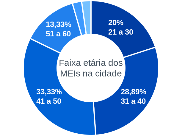 Faixa etária de MEIs na cidade de Santana do Piauí