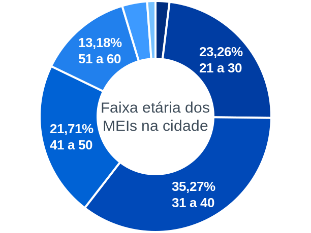 Faixa etária de MEIs na cidade de Campo Novo de Rondônia