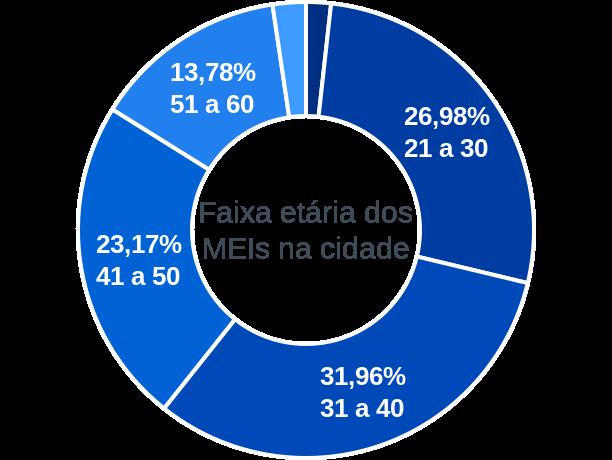 Faixa etária de MEIs na cidade de Nova Brasilândia D'Oeste