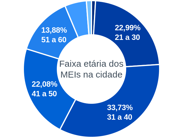 Faixa etária de MEIs na cidade de Bento Gonçalves