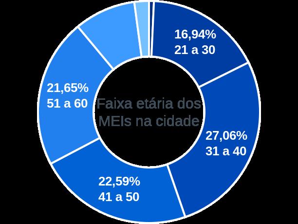 Faixa etária de MEIs na cidade de Campinas do Sul