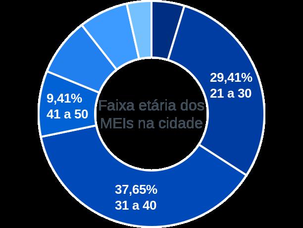 Faixa etária de MEIs na cidade de Pinhal da Serra
