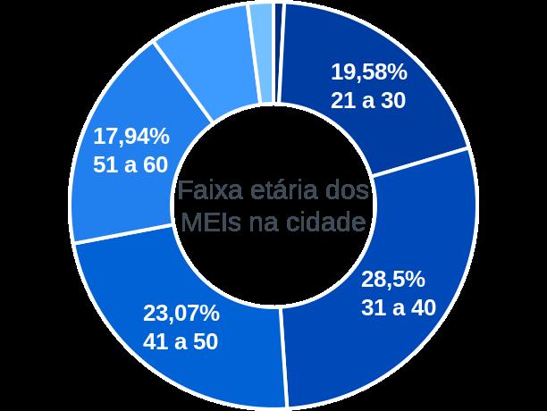 Faixa etária de MEIs na cidade de São Lourenço do Sul