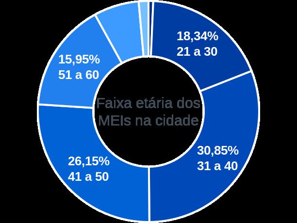 Faixa etária de MEIs na cidade de Araçoiaba da Serra