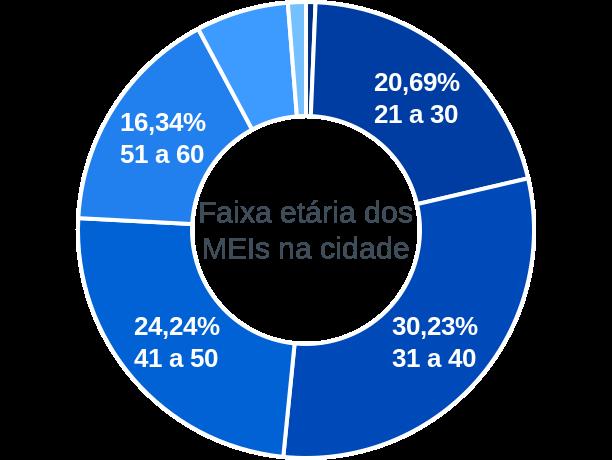 Faixa etária de MEIs na cidade de Araraquara