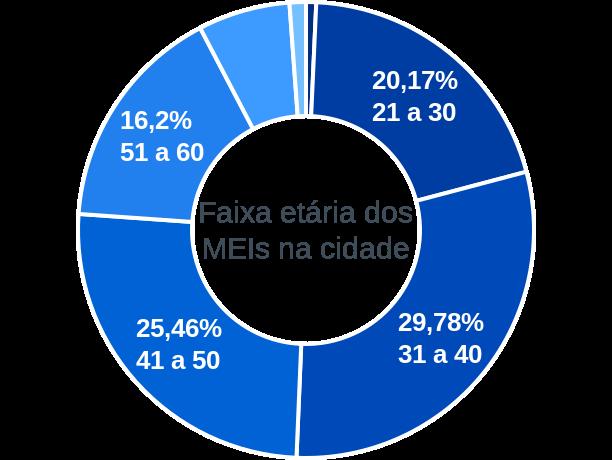 Faixa etária de MEIs na cidade de Bragança Paulista