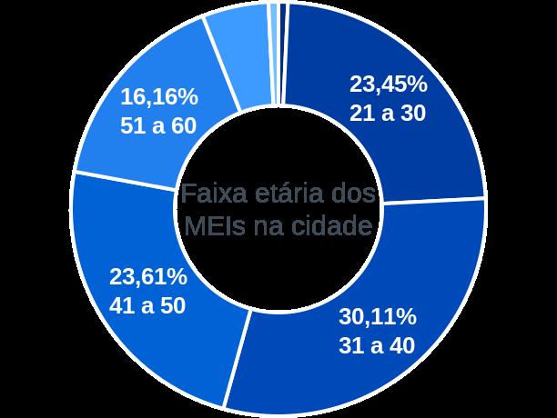 Faixa etária de MEIs na cidade de Caieiras