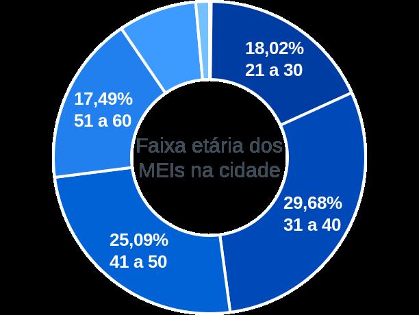 Faixa etária de MEIs na cidade de Cristais Paulista