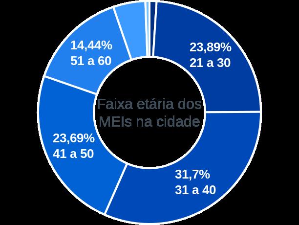 Faixa etária de MEIs na cidade de Ferraz de Vasconcelos