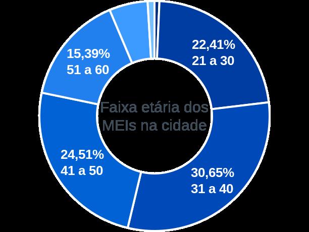 Faixa etária de MEIs na cidade de Guarujá