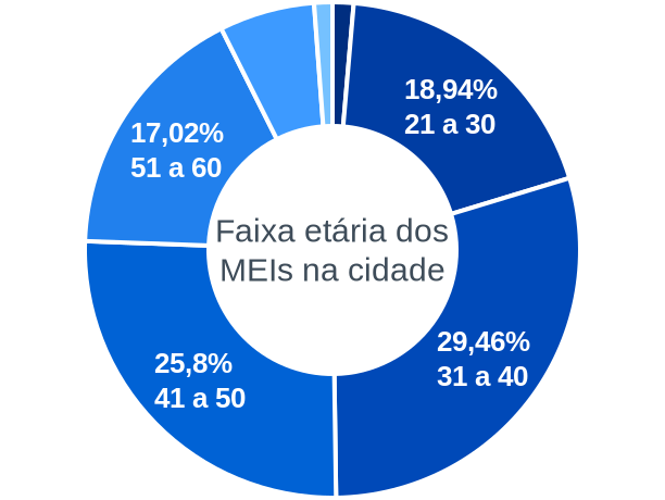 Faixa etária de MEIs na cidade de Nazaré Paulista
