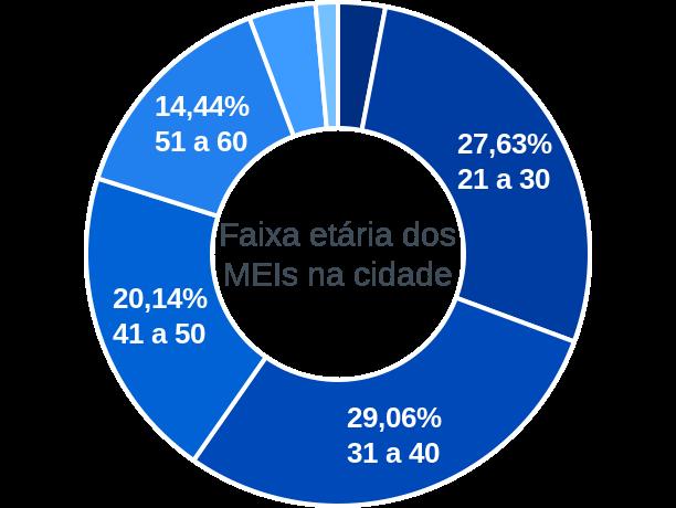 Faixa etária de MEIs na cidade de Ribeirão Branco