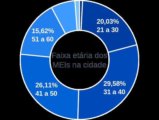 Faixa etária de MEIs na cidade de Ribeirão Pires
