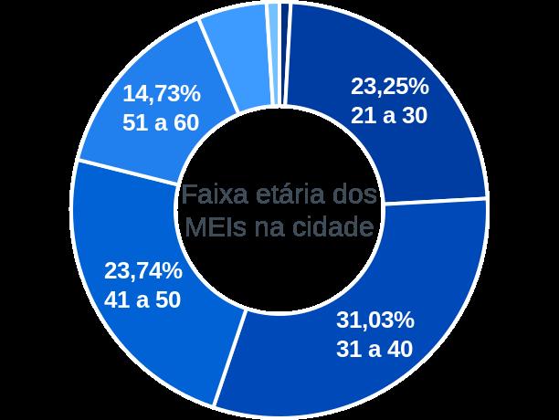 Faixa etária de MEIs na cidade de São José dos Campos