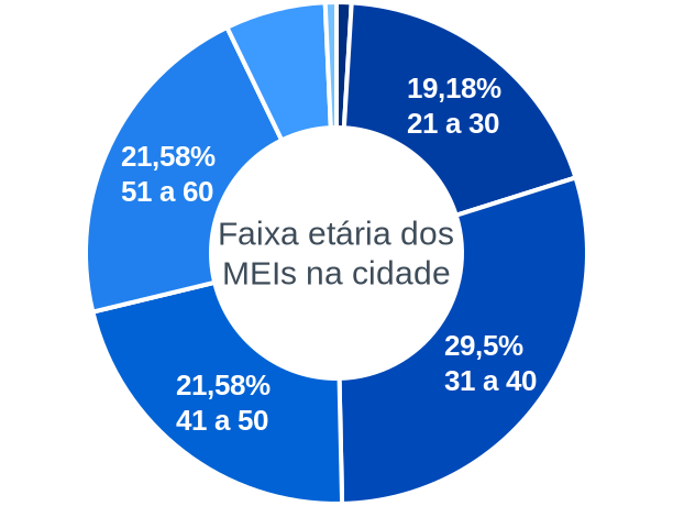 Faixa etária de MEIs na cidade de São Pedro do Turvo
