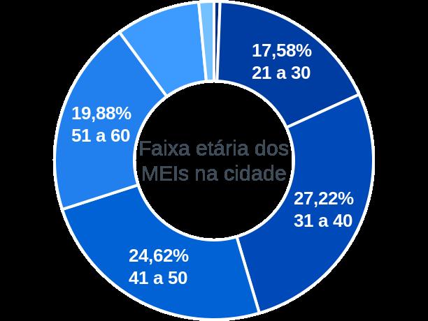Faixa etária de MEIs na cidade de São Sebastião da Grama