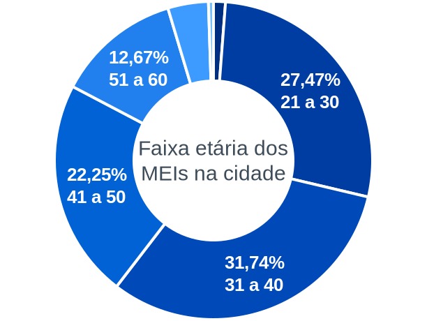Faixa etária de MEIs na cidade de Palmas